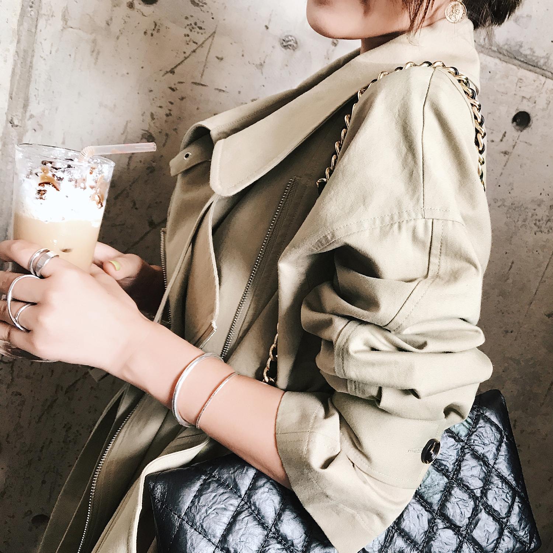 春秋装新款女装2018韩版中长款chic矮个子薄款秋季风衣女学生外套