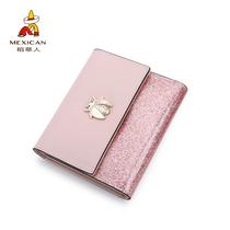 Scarecrow Wallet female short INS student Korean version cute cowhide 2018 new multifunctional small fresh folding