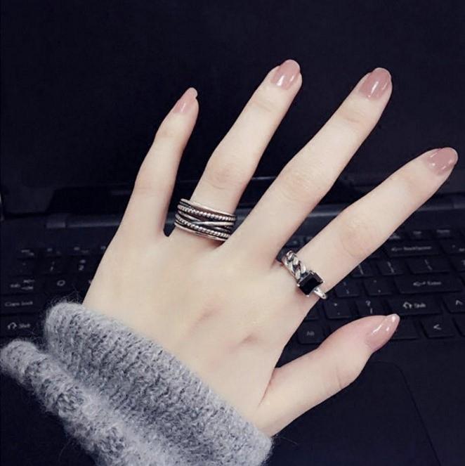 小众设计蹦迪黑玛瑙戒指女纯银时尚个性ins潮复古食指冷淡风网红
