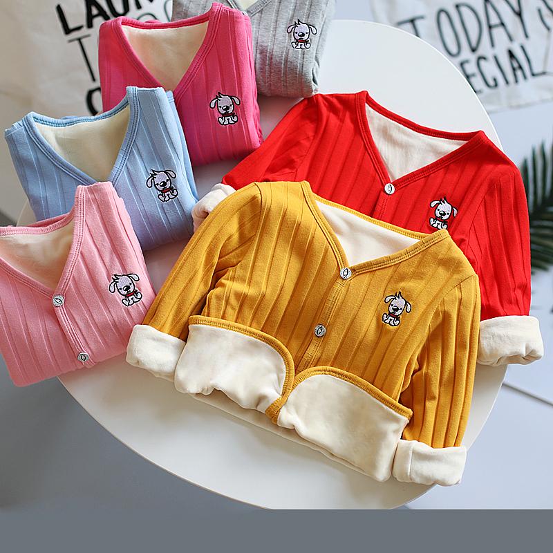 男童女童保暖秋冬宝宝长袖加绒开衫纯棉加厚中小童上衣儿童外套潮