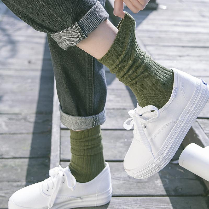 袜子女中筒袜ins潮日系纯棉学院风春夏原宿学生韩国薄款潮堆堆袜