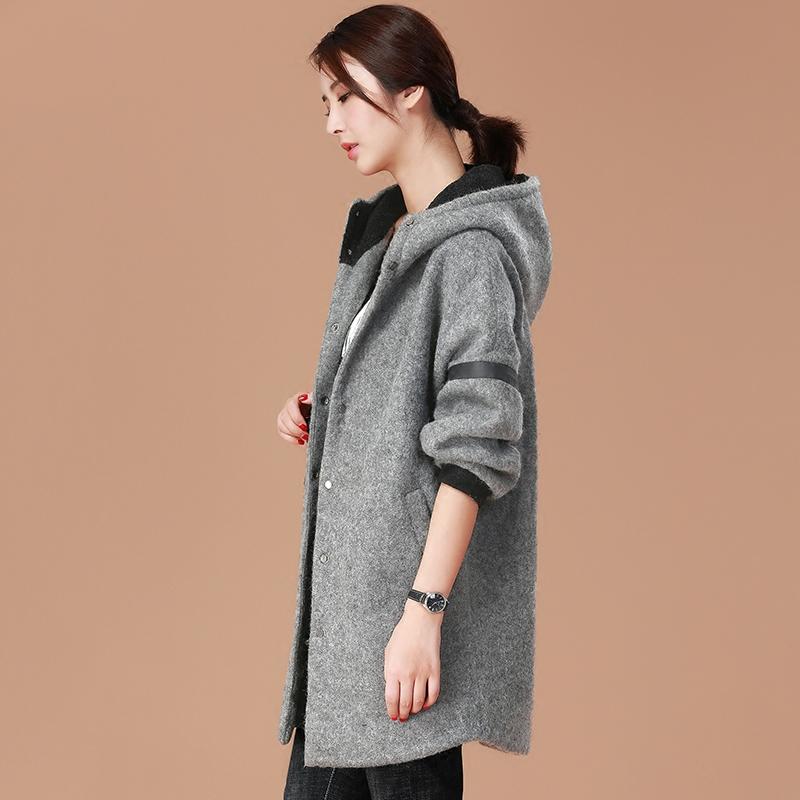 韩潮袭人2017冬装新款韩版连帽毛呢外套女中长款加厚大码呢子大衣