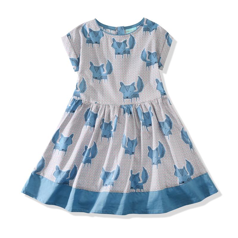 雅童小鋪 藍色狐狸女童全棉短袖連衣裙 2016 兒童 裙裝
