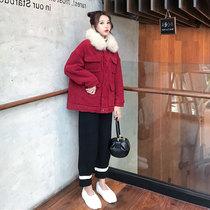 胖妹妹大码女装秋季减龄显瘦红色棉服外套针织休闲裤洋气两件套装