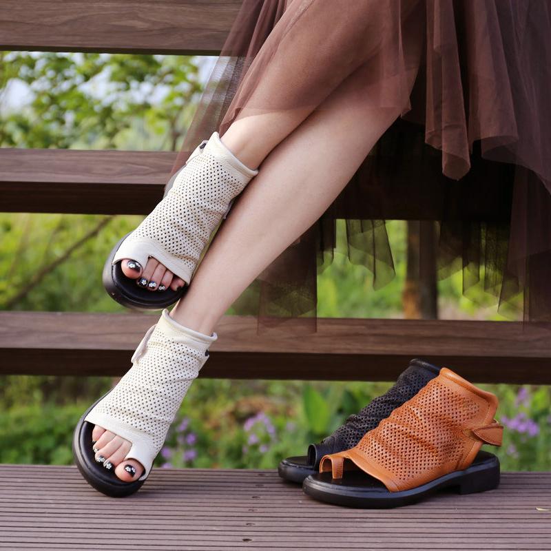 夏季女靴新款 真皮镂空短靴平底鱼嘴马丁靴 英伦套趾低跟休闲凉鞋