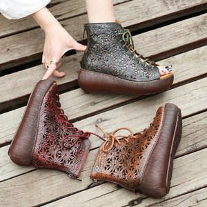 真皮厚底短靴女春秋单靴夏镂空鱼嘴鞋复古松糕马丁靴英伦风凉靴子