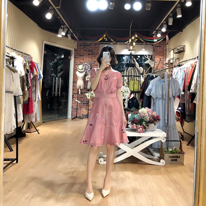 收腰遮肚子显瘦小香风小个子高腰鱼尾连衣裙子夏女2018新款A字裙
