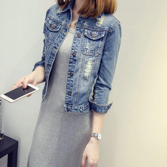 2021春秋新款韩版修身显瘦外套七分袖牛仔百搭短外套女夹克上衣潮