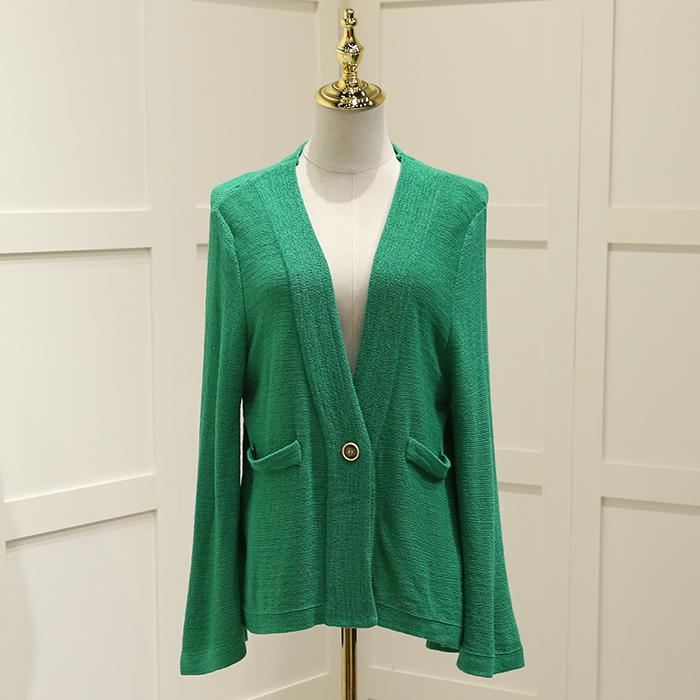 首期●新款外套2018春装品牌折扣女装8SC104喇叭袖一粒扣针织衫潮