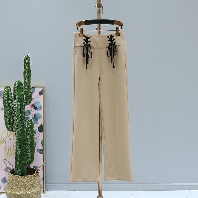 二期●新款裤子2018秋装品牌折扣女装C8-384绑带高腰纯色气质显瘦