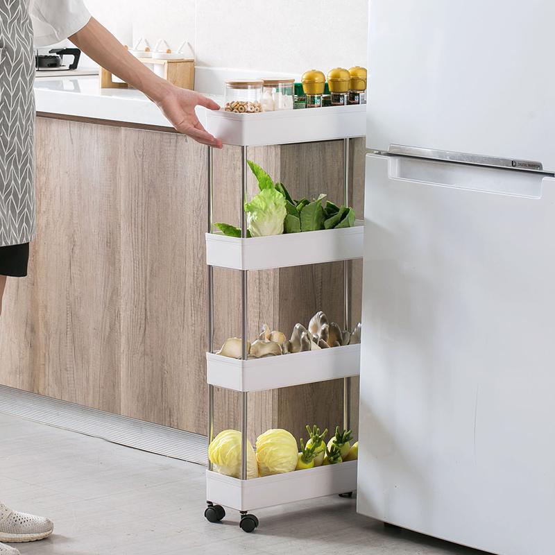 居家家可移动缝隙收纳架厨房夹缝小推车客厅浴室卫生间多层置物架券后19.90元