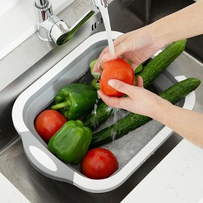 居家家 可折叠洗菜盆漏盆沥水篮 家用厨房塑料装水果菜篮子洗菜篮