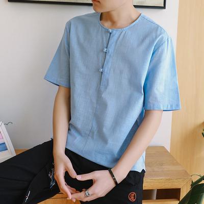 2018夏装新款简约盘扣中国风日系亚麻大码男装短袖T恤 T9502 P45