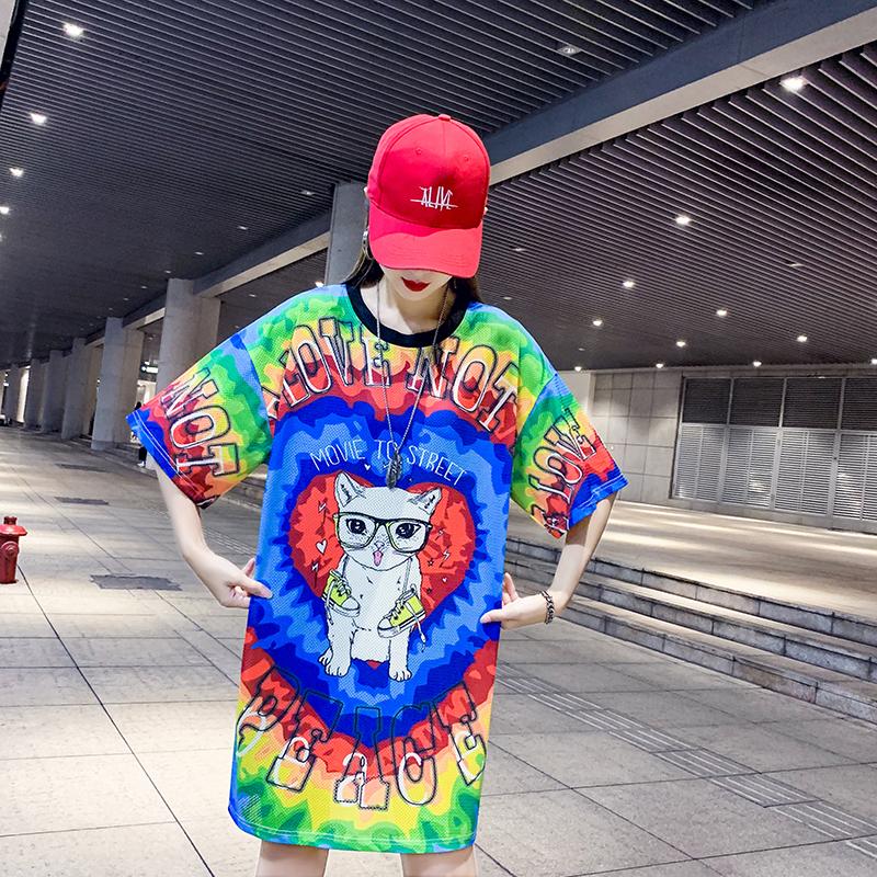 2020实拍 夏季新品潮牌印花卡通休闲90~180斤胖mm显瘦T恤裙