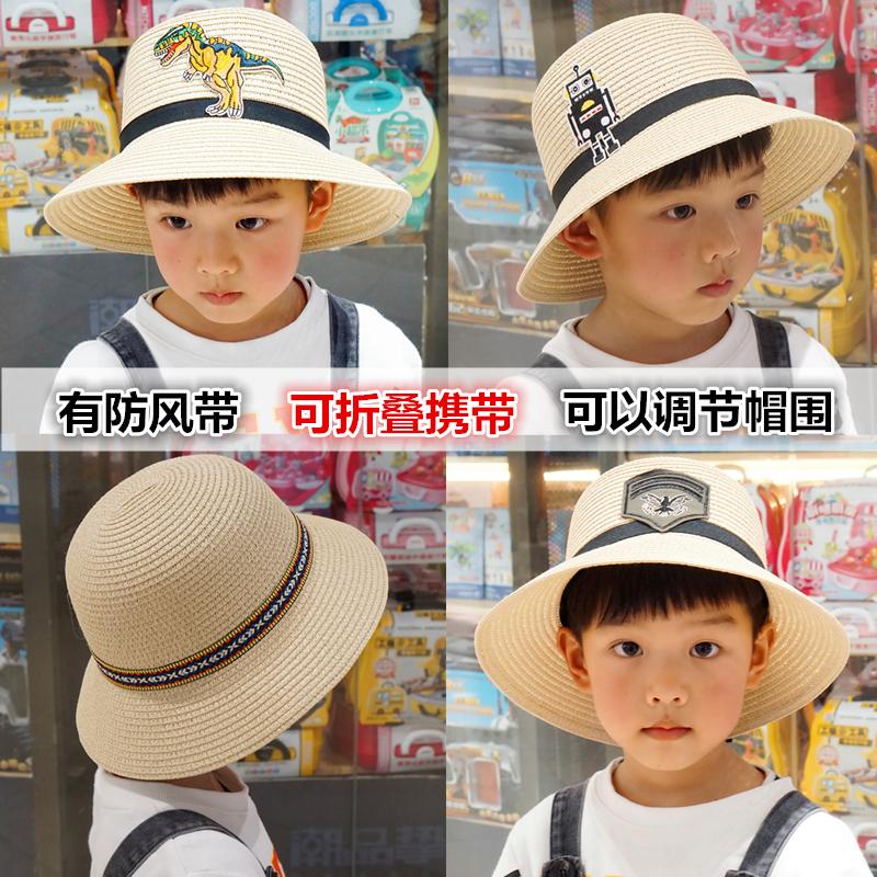 子供用麦わら帽子男児のつばの大きいサンバイザー親子の中で大童日焼けビーチ帽子のビーチハットベビーハット
