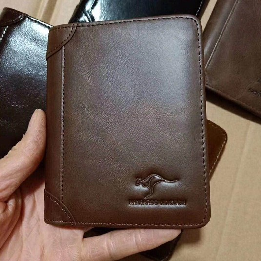 Wear resistant leather mans double turn over leather wallet group purchase special price genuine leather two fold short mens wallet mens wallet