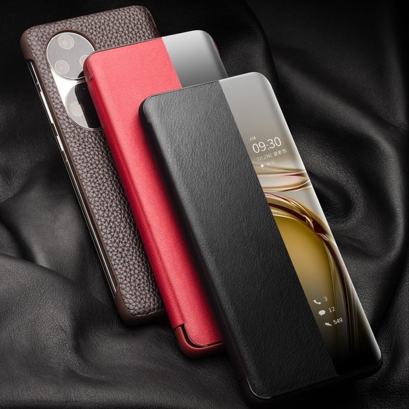 Qialino 适用华为Huawei P50 Pro Smart Cover智能休眠开窗保护套