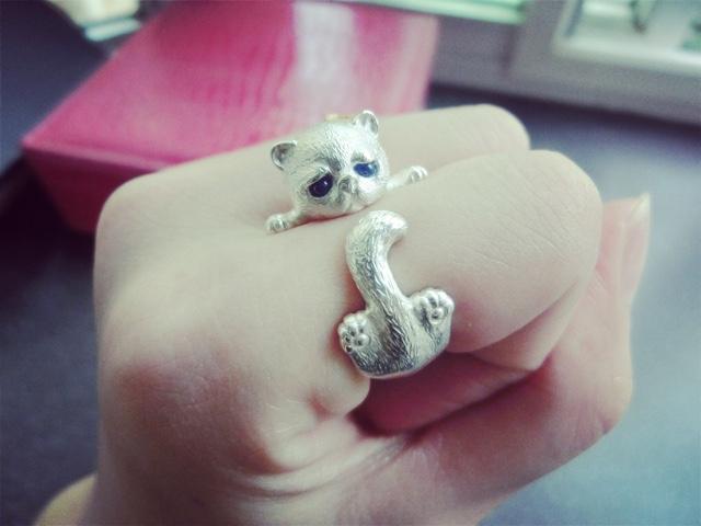 原创手工英短猫咪纯银镶嵌宝石戒指环开口生日送女友礼物刻字包邮