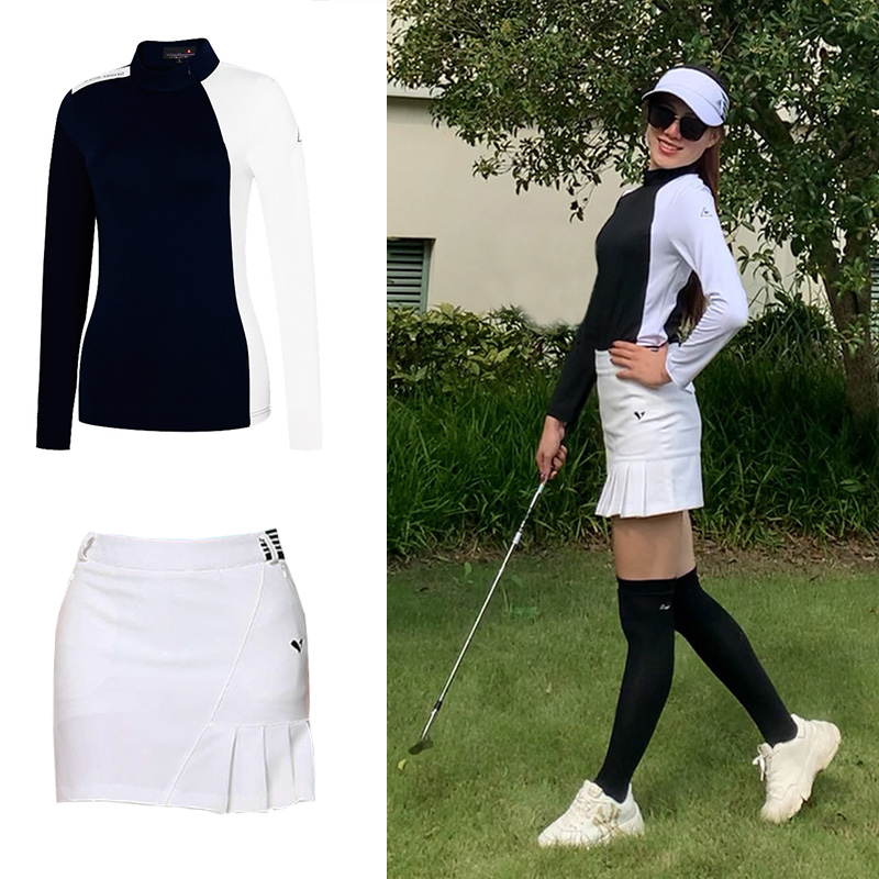 Golf womens autumn long sleeve T-shirt stretch quick drying sportswear undergarment high collar fashion jerseys