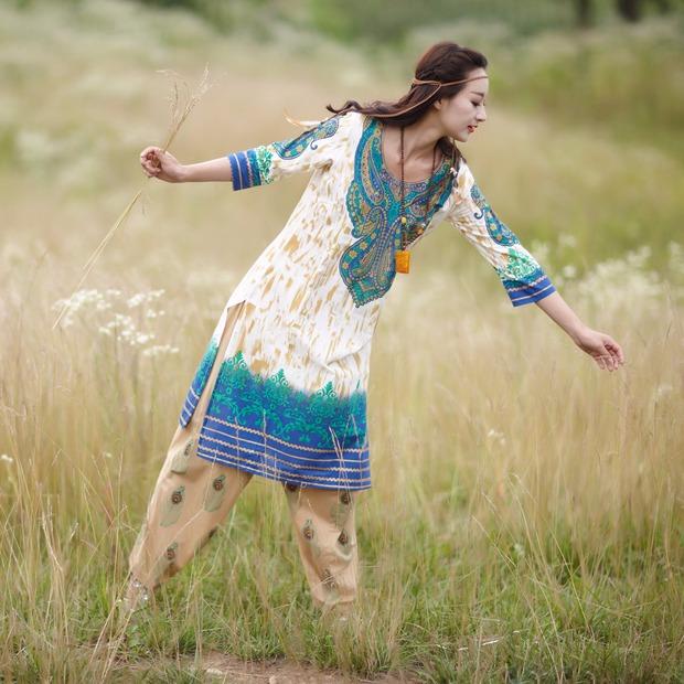 2019新款民族风特色印度女装套装印花含上衣裤子围 纯棉薄款服饰