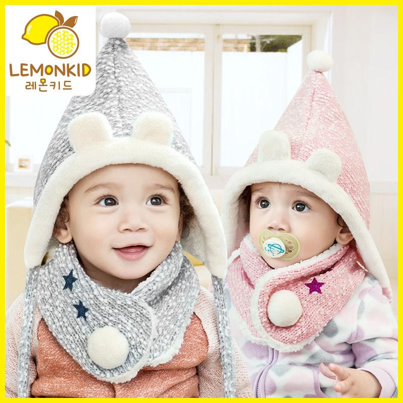 柠檬宝宝韩国秋冬保暖加绒套装卡通绒球帽子围巾二件套针织帽子