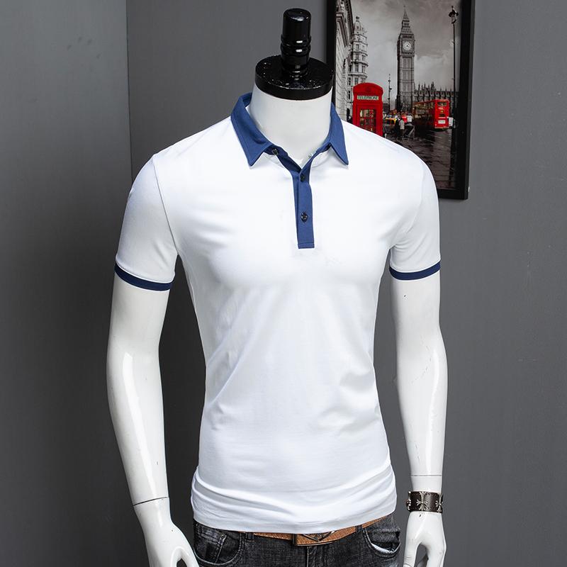 (用5元券)丝光棉男士短袖撞色蓝白拼色polo衫