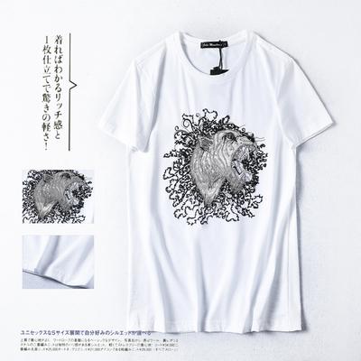 男士短袖动物刺绣T恤2019夏季新款半袖修身T恤衫 货号6625 P53白