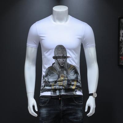 男士短袖人物印花T恤2019夏季新款半袖修身体恤衫 货号9629 P58白
