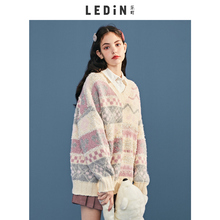 Leting V-neck jacquard knitwear new style striped sweater in autumn 2019 women's loose outside wear lazy autumn and winter