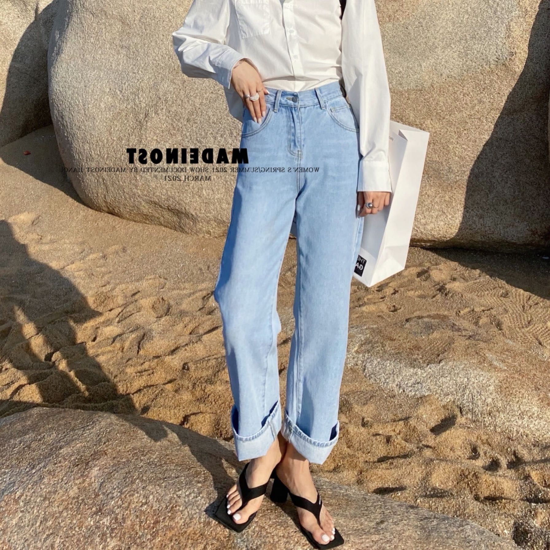New early spring 2021! Simple loose and versatile Wide Leg Jeans