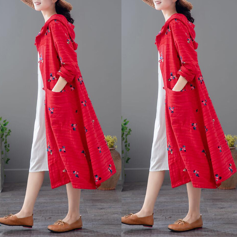 棉麻风衣女中国风外搭民族风刺绣开衫秋款外套女2018新款亚麻袍子