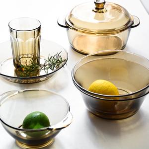 【天天特价】2件套北欧茶色玻璃碗碟