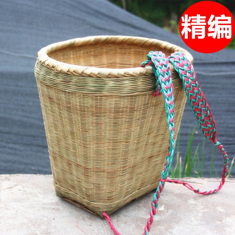 竹背篓精编手工竹编家用四川背篼买菜竹筐成人可做舞蹈道具装饰