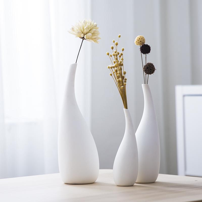 Нордический простой домой аксессуары маленький белый свежий керамический цветок бутылка украшение современный гостиная творческий сухие цветы цветочная композиция бутылка