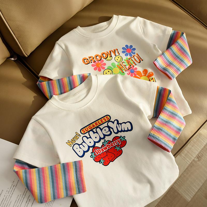 儿童纯棉假两件t恤女童圆领打底衫