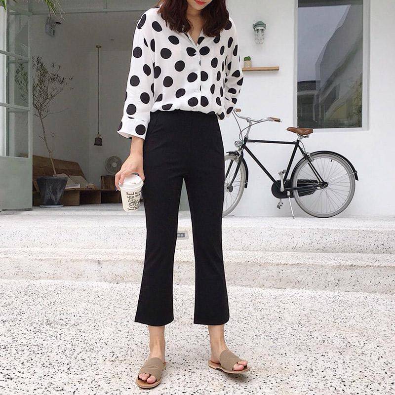 开叉微喇裤 显瘦显高 女士弹力九分裤 夏季薄款