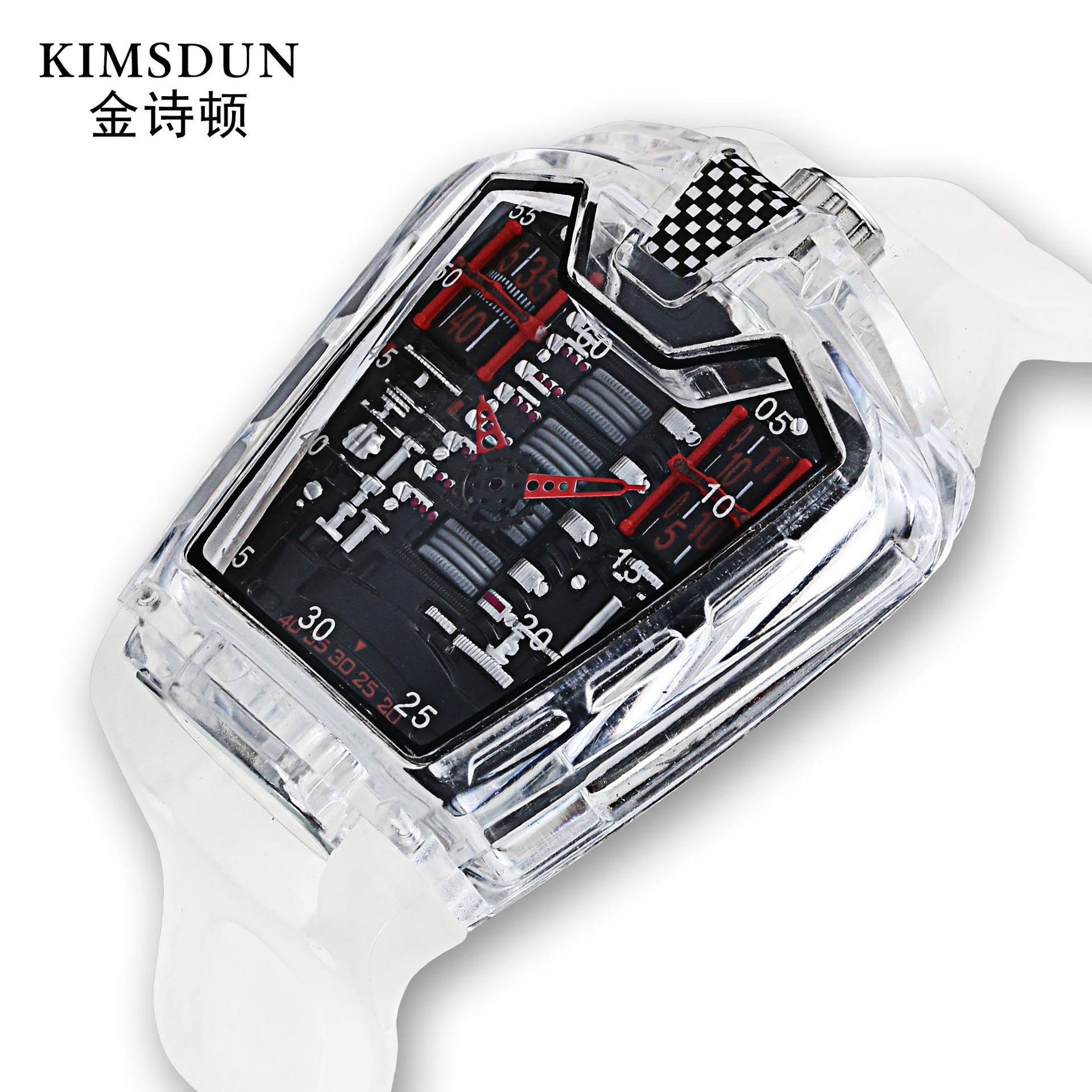个性法拉利跑车概念表赛车发动机舱六缸男表创意腕表潮流时装手表