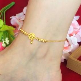 新款韩版女24k铜镀金钱币沙金脚链