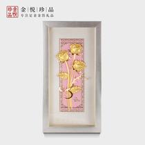 金箔金玫瑰花创意生日情人节礼物送女友女生客厅卧室装饰挂画摆件