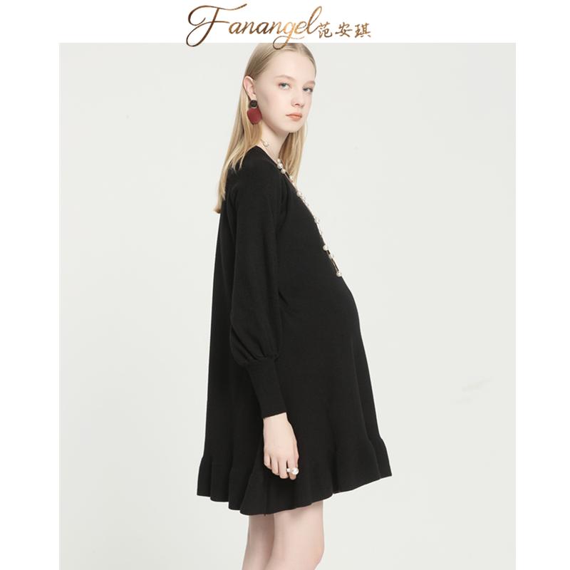 孕妇针织连衣裙中长款宽松大码毛衣热销77件手慢无