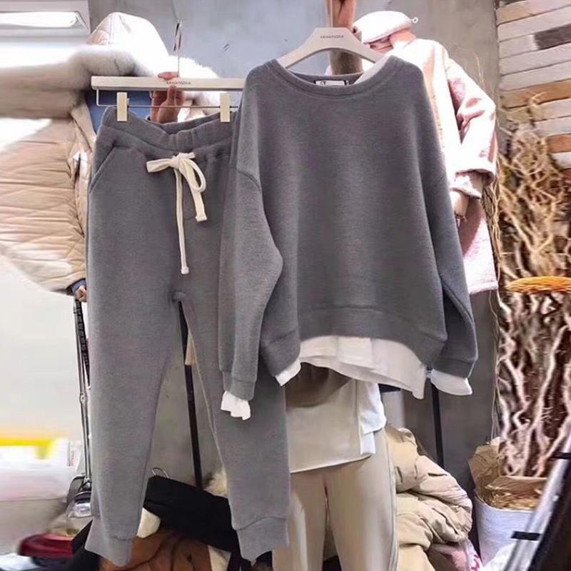 春秋装新款拼接套头卫衣上衣配休闲长裤两件套韩版宽松时尚套装女108.00元包邮