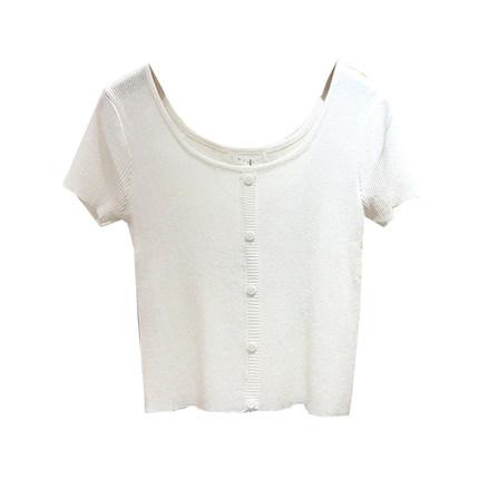 纯色大圆领短袖针织夏季新款打底衫