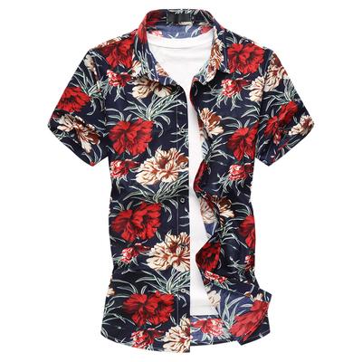 新款新款夏季男生短袖花衬衫大码韩版花色衬衫短袖226-230p50