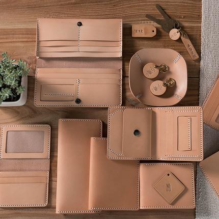 DIY材料包 自己手工制作皮具钱包 意大利原色植鞣皮革 可养牛养色
