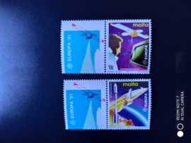 马耳他1991年欧罗巴航天宇航火箭邮票2全新