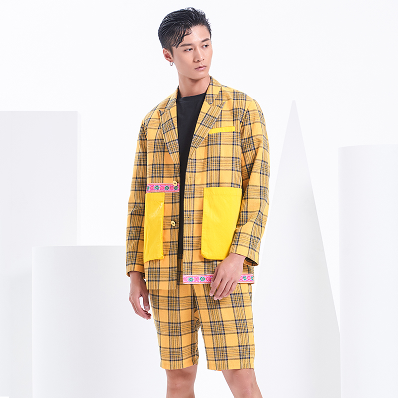 Large color Plaid stitching design suit casual coat original design of star style ESA Liang bingqin