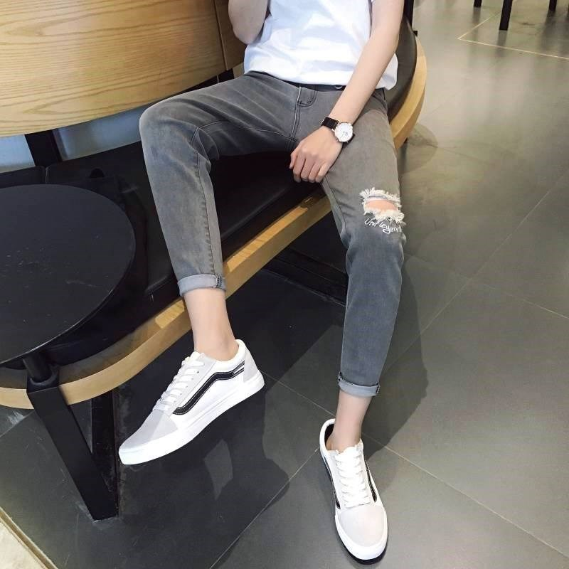 Pants mens trendy cropped pants skinny, ripped jeans thin, springy legs summer cropped pants