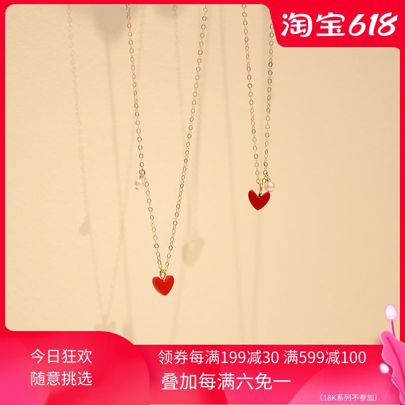 CECILIA小红心白珍珠 超气质14K包金锁骨珍珠项链简约ins爱心吊坠