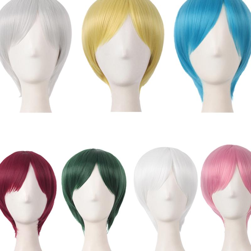 Grazing clearance cos Wig Men and women universal short hair invisible no trace animation short straight hair role play