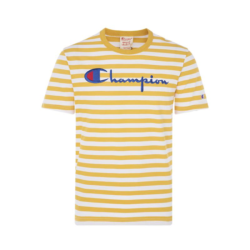 CHAMPION英文logo装饰黄/白色条纹设计 棉质男士短袖T恤热销1件假一赔三